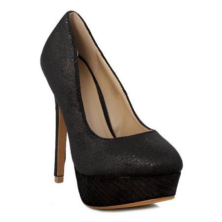 Black Spike Heel - Ranee Adult Black Shimmery Platform Stiletto Heel Stylish Pumps