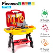 PicassoTiles PTT304 STEAM Educational DIY Take-A-Part Suitcase Tool Table Toy Set