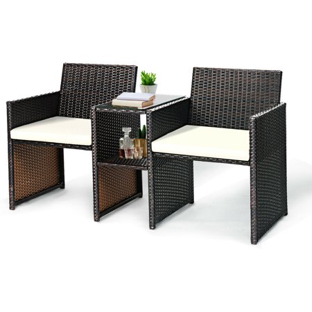Gymax Cushioned Patio Rattan Seat Loveseat Sofa Table Chairs ()