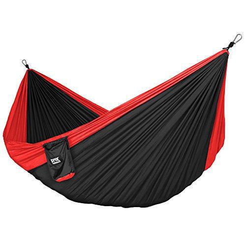 Neolite Trek Camping Hammock Lightweight Portable Nylon Parachute Hammock Black by Fox Outfitters