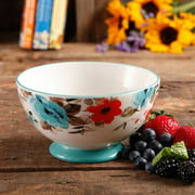 "The Pioneer Woman Flea Market 6"" Decorated Footed Bowls, Floral & Teal, Set of 4"