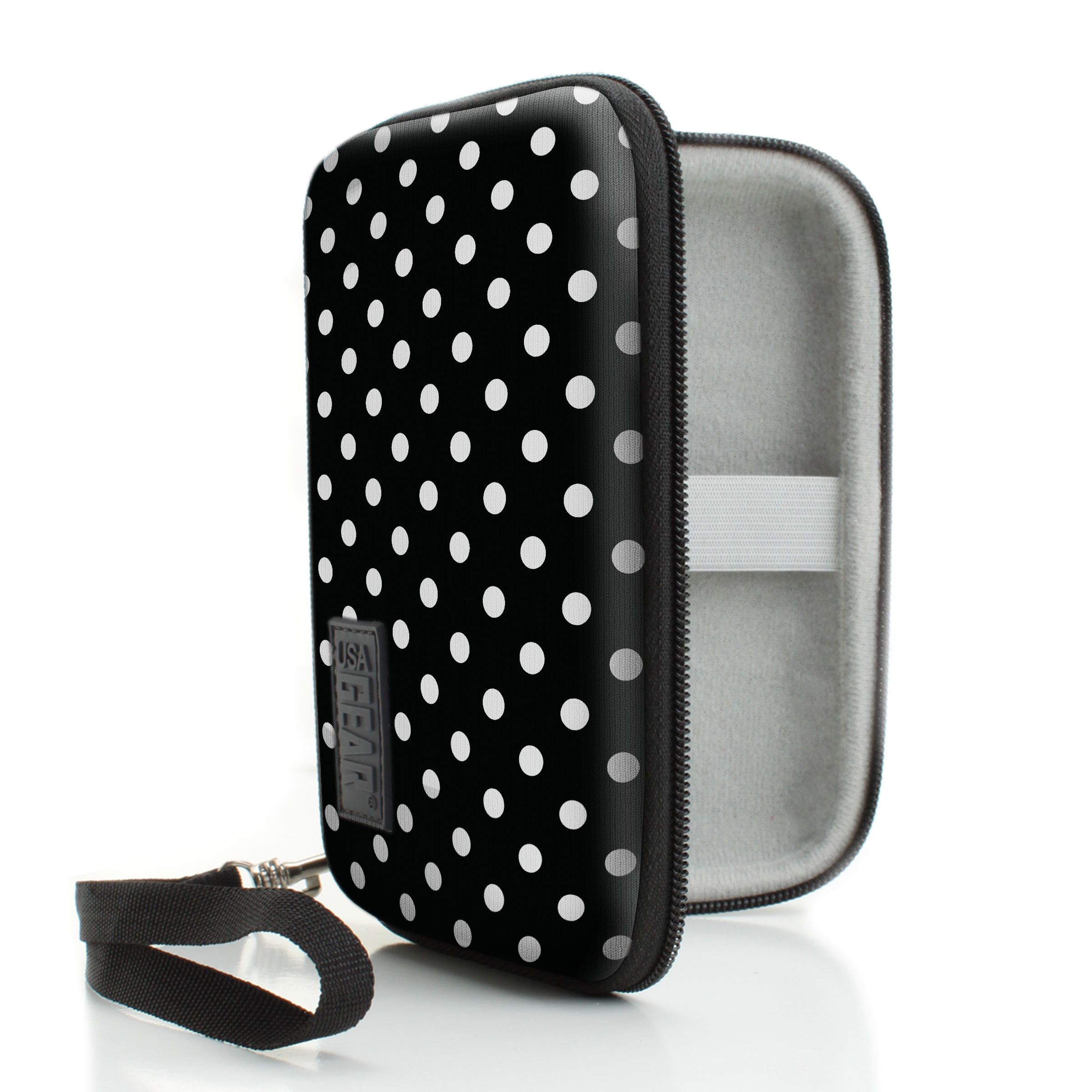 Protective Hard Shell Digital Voice Recorder Slim Case by USA Gear - Works With Sony ICD-UX533BLK / ICDTX50 , Olympus DP-201 , Dennov VR-BK8 and Many More Compact Voice Recorders - Polka Dot