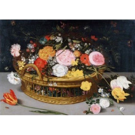 Roses Tulips and other Flowers in a Wicker Basket Jan Bruegel the Elder (8 x 10) Poster Print (8 x 10) ()