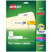 """Avery File Folder Labels, 2/3"""" x 3-7/16"""", 750 White Labels (8366)"""