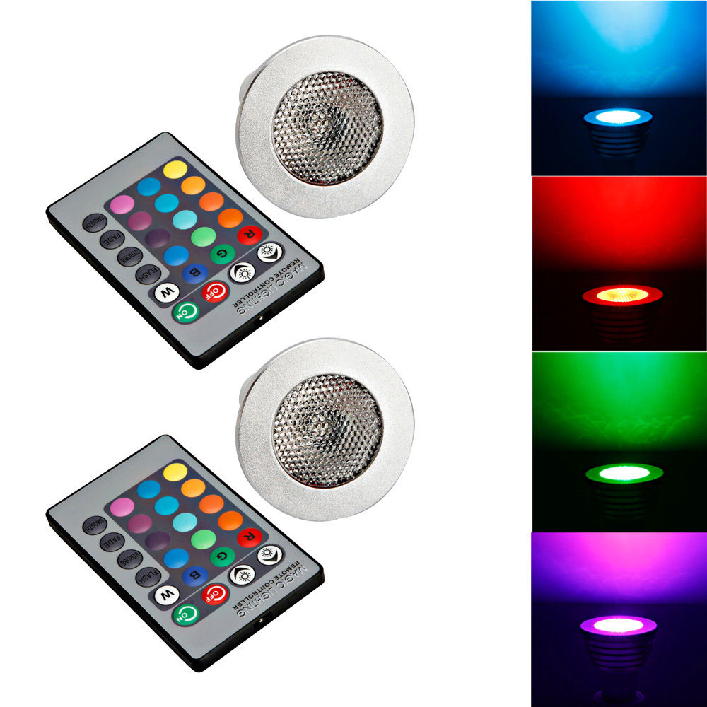 Ktaxon 2-Pack Durable GU10 5W Colorful RGB LED Bulb Light Lamp Spotlight with Remote Control,Great for Birthday Party / KTV Decoration / Home Use / Bar / Wedding