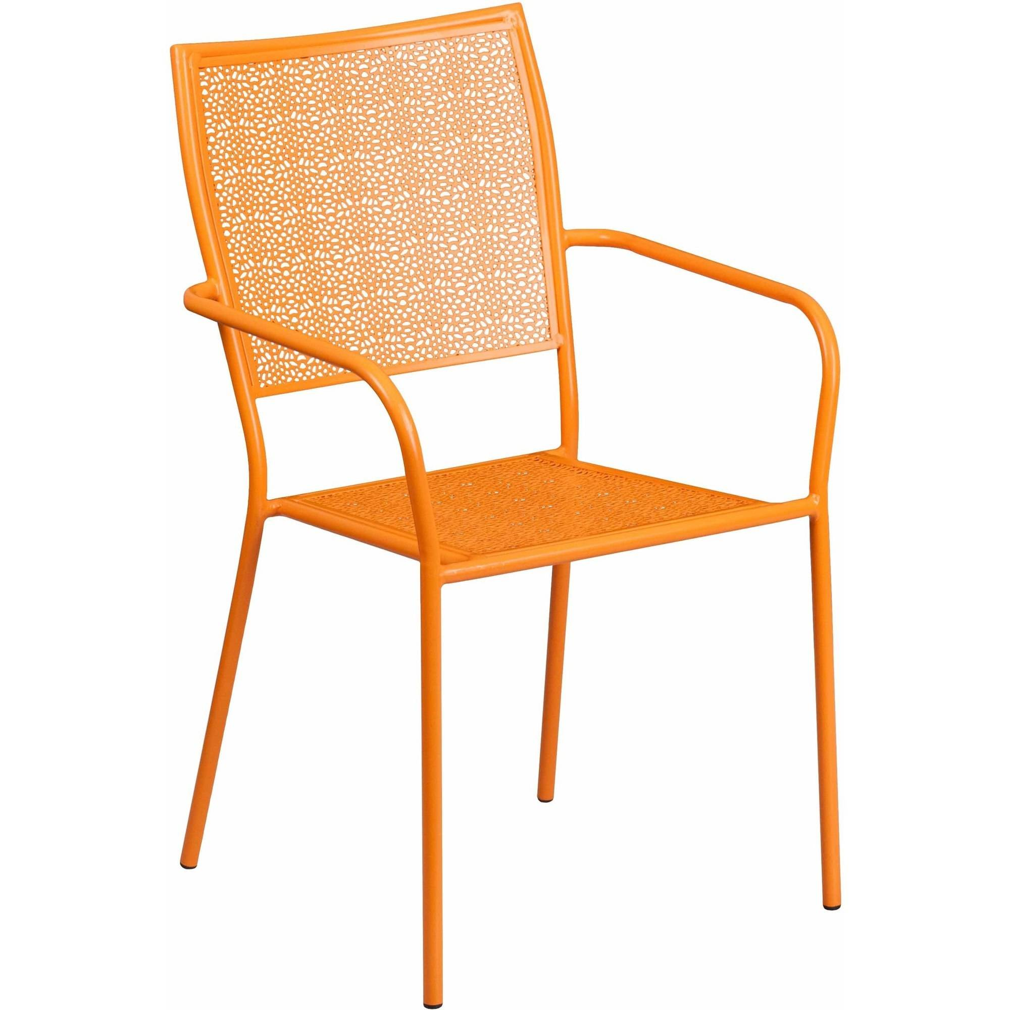 Flash Furniture Indoor-Outdoor Steel Patio Arm Chair with Square Back, Multiple Colors