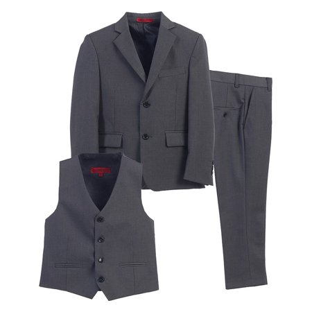 Little Boys Charcoal Vest Pants Jacket Special Occasion 3 Pcs Suit - Suits For Little Boys