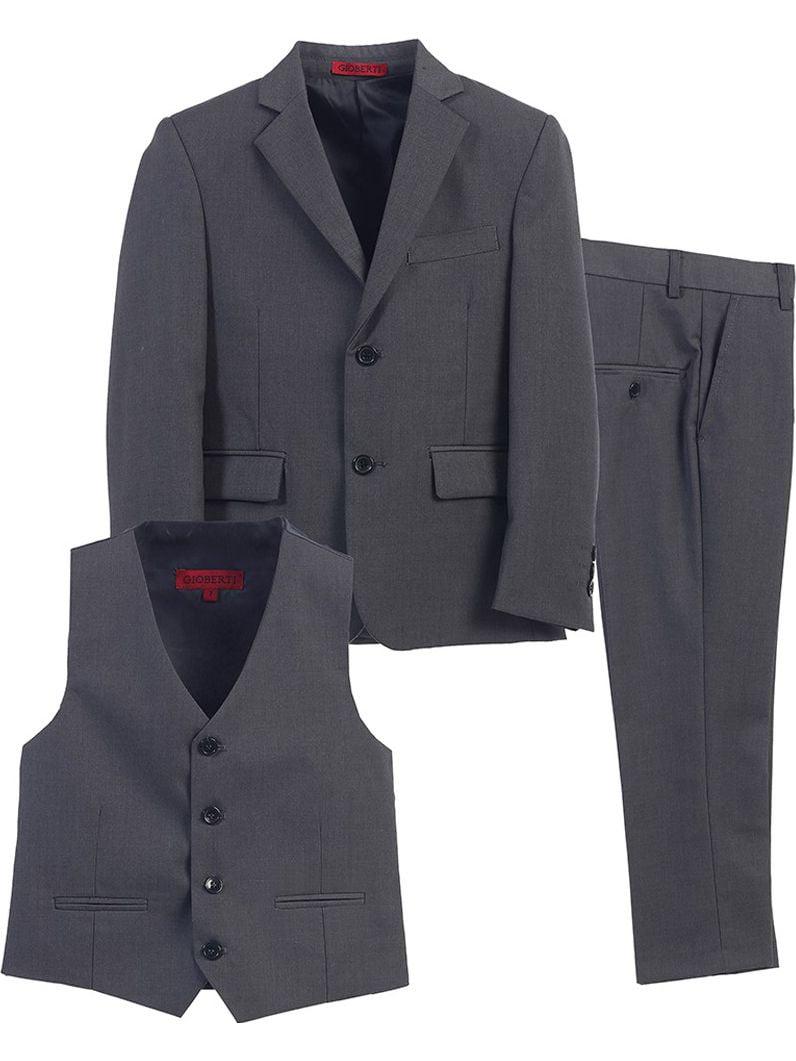 Little Boys Charcoal Vest Pants Jacket Special Occasion 3 Pcs Suit 2T-7