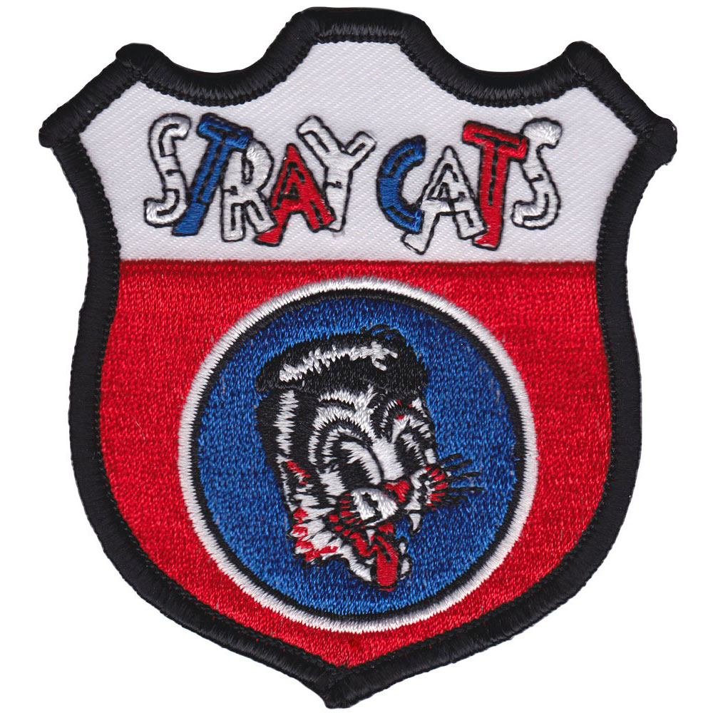 Stray Cats Men's Shield Embroidered Patch Black