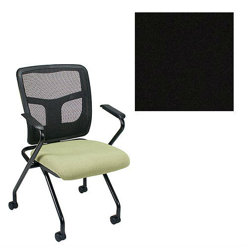 Office Master Yes Collection YS70N Ergonomic Nesting Chair - Fixed Standard Armrests - Black Mesh Back - Grade 1 Fabric - Celestial Oberon Black 1200 PLUS Free Ergonomics eBook