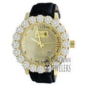 Roman Face Mens Genuine Diamond Dial Gold Tone Flower Bezel Khronos Genuine Leather Wrist Watch W/Date