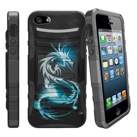 Apple iPhone 5 Case   5s Case  SE Case  [ Clip Armor ] Rugged High Impact Hybrid Case with Built in Kickstand + Holster - White - High Impact Holster