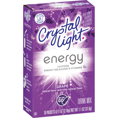 Crystal Light On The Go Energy Grape Drink Mix, 10ct