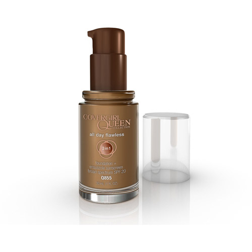 COVERGIRL Queen Collection 3 in 1 Foundation + Ensulizole Sunscreen SPF 20, Q855 Spicy Brown