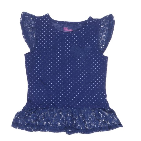 Epic Threads Little Girls Dotted Lace-Trim Navy Size 5