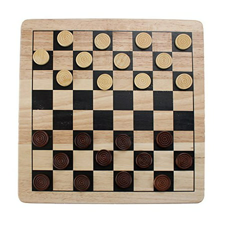 Wooden Checkers (Brybelly All Natural Wood 2-in-1 Checkers and Tic-Tac-Toe Set with Wooden)