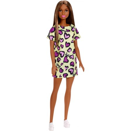 Barbie Doll, Brunette, Wearing Yellow And Purple Heart-Print Dress
