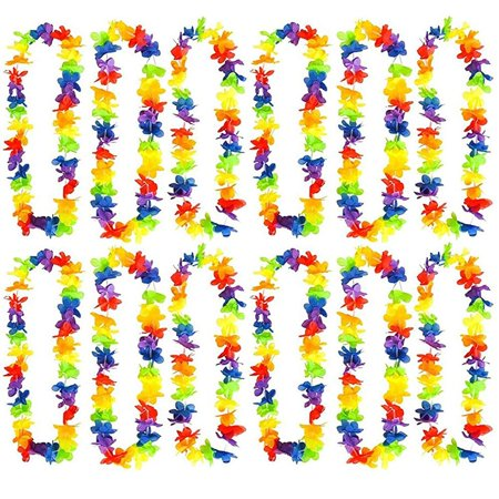 Rainbow Flower Leis, Hawaiian Luau Leis - Cool And Fun Colorful Rainbow Flower Garland - Novelty & Gag Toys, Party Favor, Bag Stuffer, Giveaway, Gift Ideas- By Kidsco
