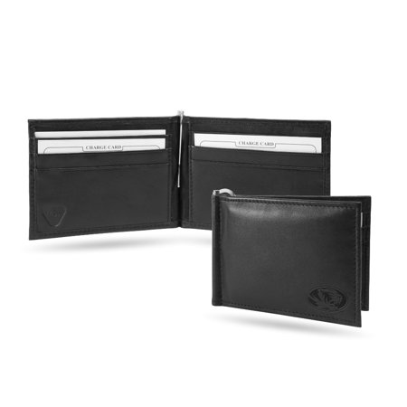 Missouri MIZZOU Tigers NCAA RFID Blocking Shield Black Leather Moneyclip Wallet