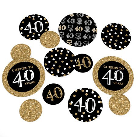 Adult 40th Birthday - Gold - Birthday Party Table Confetti Set - 27 Count - 40th Birthday Paper