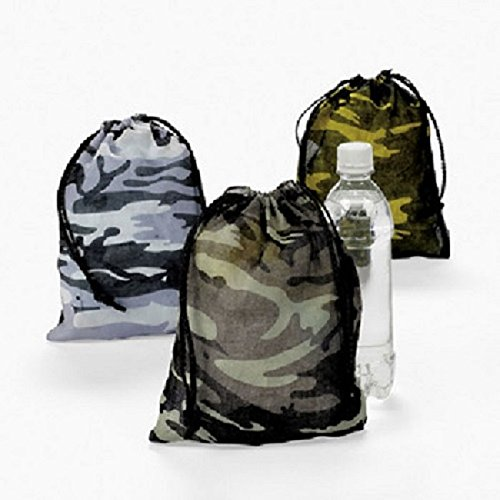 Lot of 12 Camo Camouflage Polyester Drawstring Bags Loot Sack Party Favors, Bags measure 7 1/2 x 10