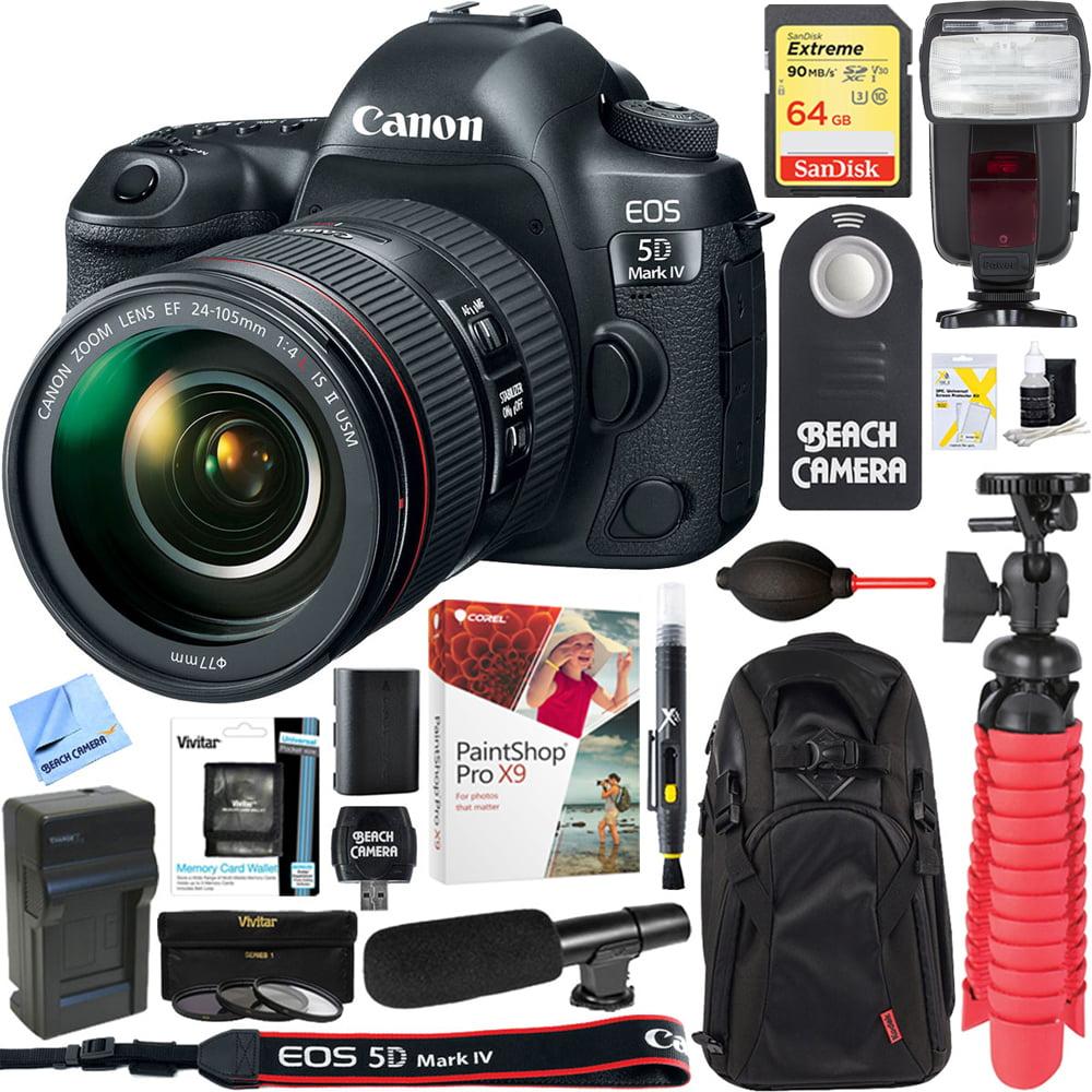 Canon EOS 5D Mark IV 30.4 MP Full Frame DSLR Camera + EF 24-105mm f/4L IS II USM Lens + UM-MIC100 Mini Condenser Shotgun Microphone + 64GB Deluxe Accessory Bundle