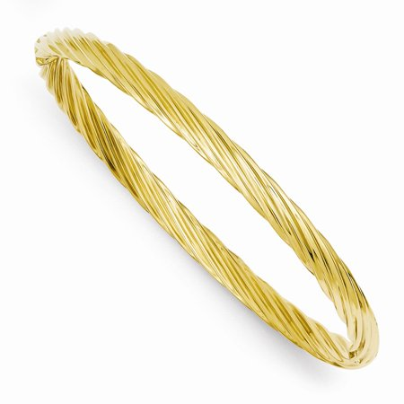 Solid 14k Yellow Gold 3/16 Swirl Hinged Bangle Bracelet (4.5mm) 14k Solid Gold Bangle