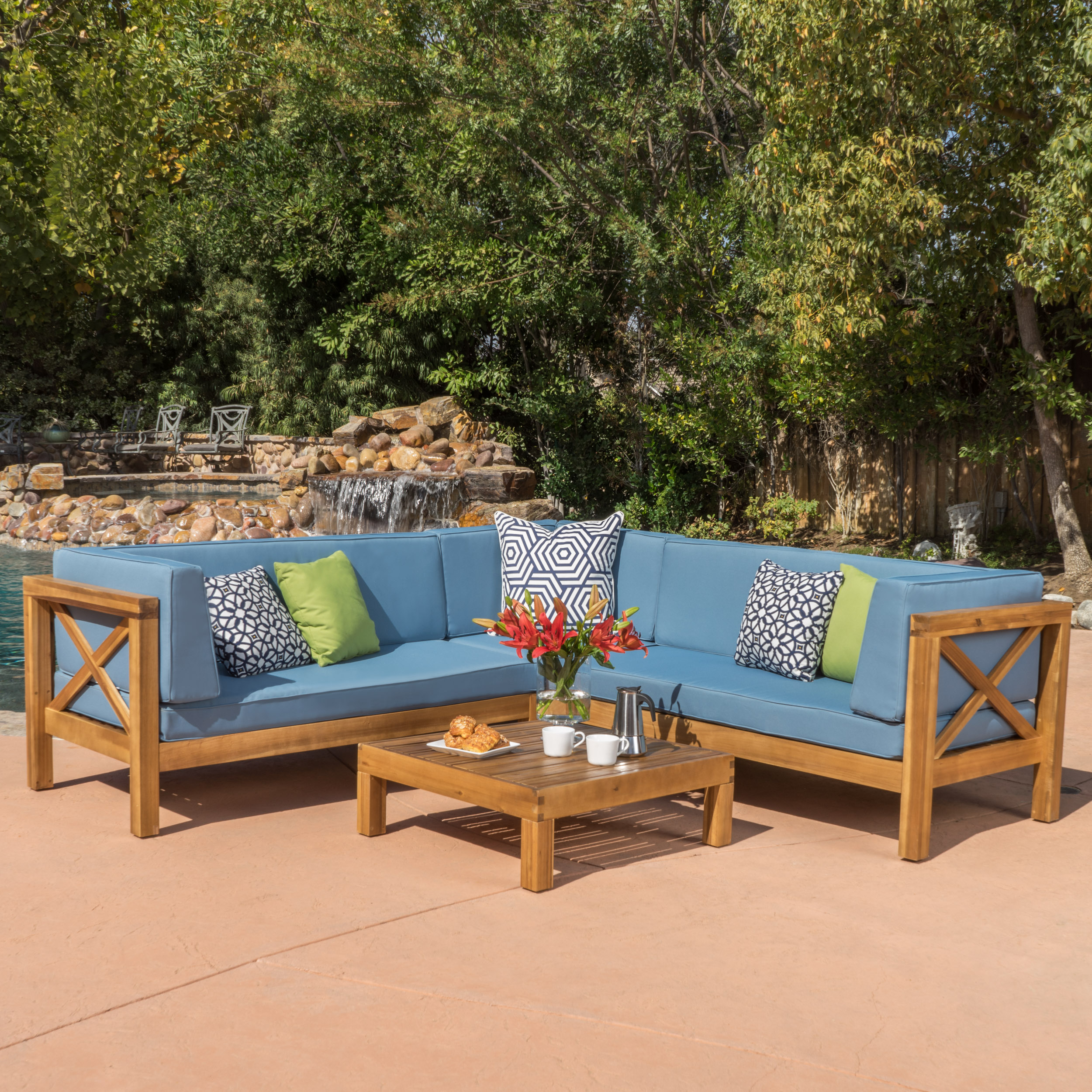 Calle 4 Piece Outdoor X-Back Wooden Sectional Set, Multiple Colors