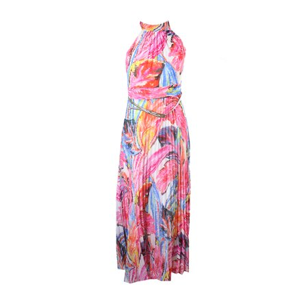 Inc International Concepts Petite Pink Multi Pleated Floral-Print Maxi Dress  10P