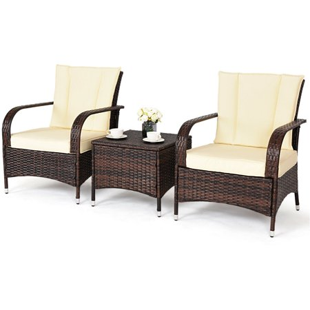 Costway 3PCS Outdoor Patio Mix Brown Rattan Wicker Furniture Set with Beige Cushions ()