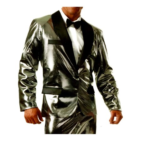 Men's Shiny Silver Rich Man Tux Tuxedo Holographic Jacket Costume Large 42-44 (Jo Rich Halloween)