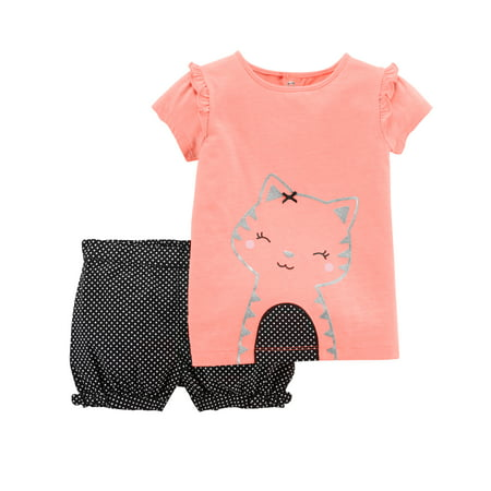 Baby Girl Short Sleeve T-shirt & Shorts, 2pc Outfit Set