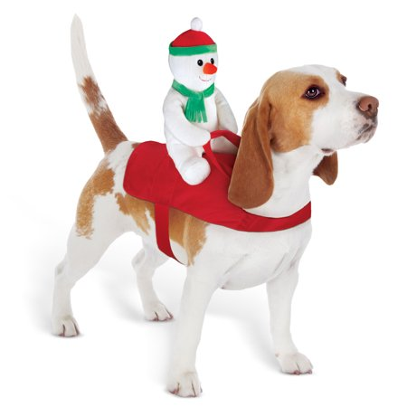 Funny Holiday Snowman Dog Rider- Adjustable Elastic Red Harness for Winter ()