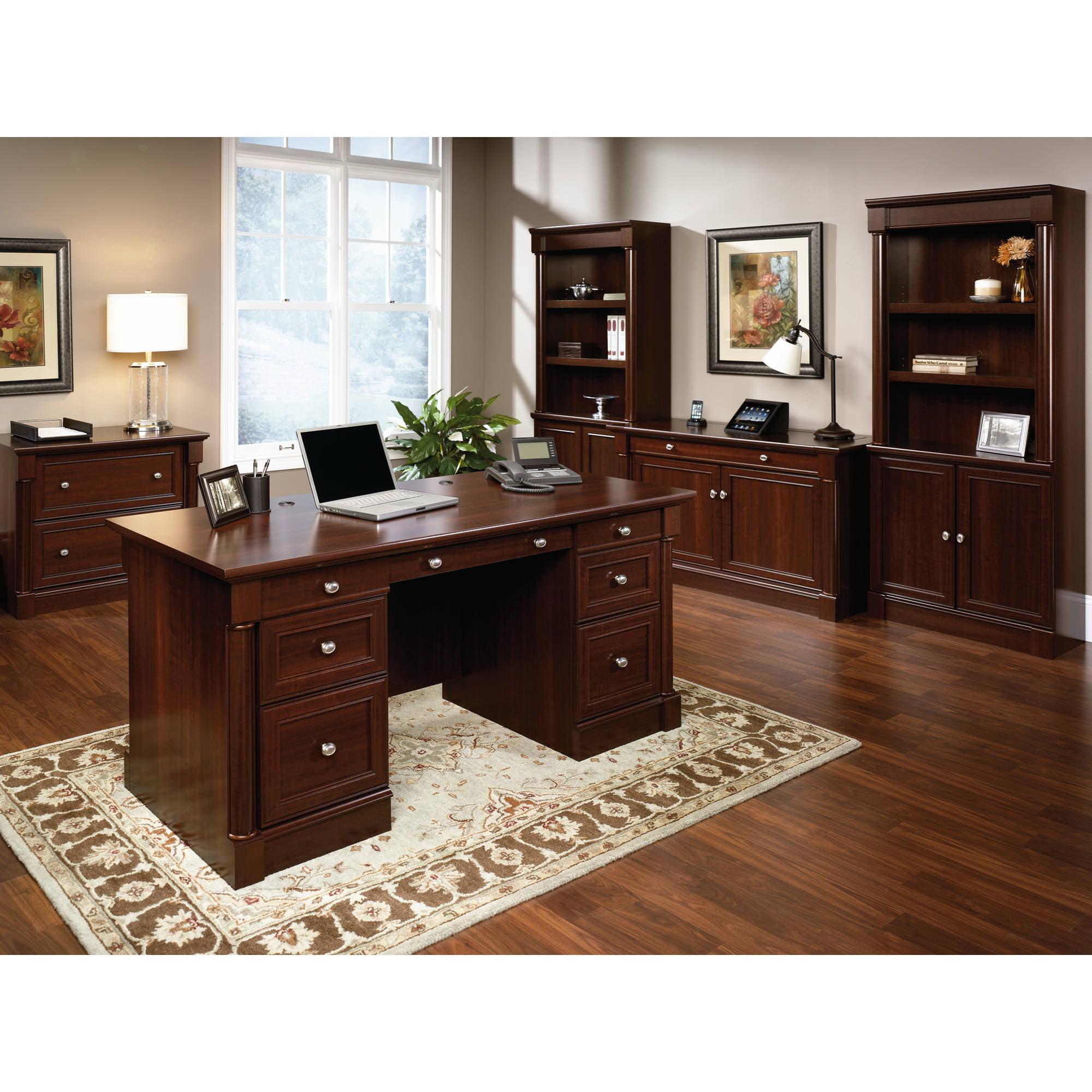 Sauder Palladia Executive Desk Select Cherry Finish Walmart Com