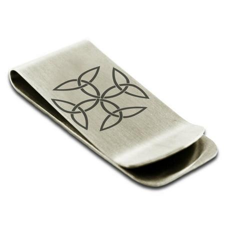 Stainless Steel Celtic Carolingian Cross Triquetras Engraved Money Clip Credit Card Holder (Celtic Money Clip)