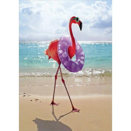 Avanti Press Flamingo with Swim Ring Funny Feminine Birthday Card