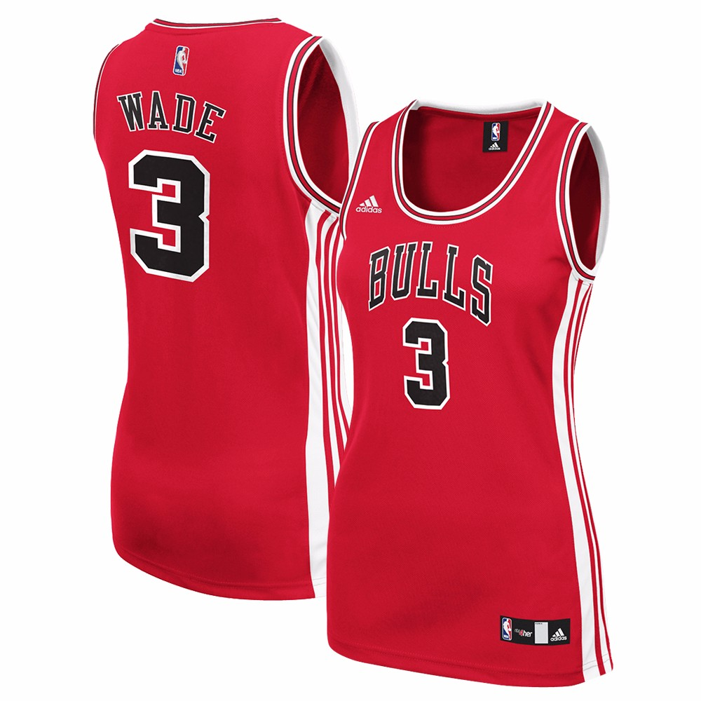 Dwayne Wade Chicago Bulls NBA Adidas Red Official Team Color Road Away Replica Jersey For Women