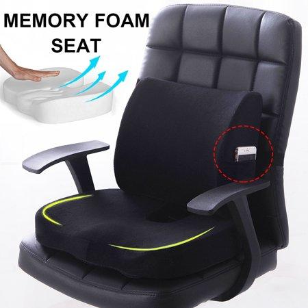 2pcs Memory Foam Seat Cushion Lumbar Back Support Orthoped
