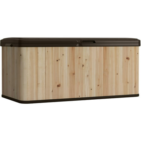 Suncast 120 Gallon Extra Large Wood and Resin Deck Box, WRDB12000D Suncast Resin Storage