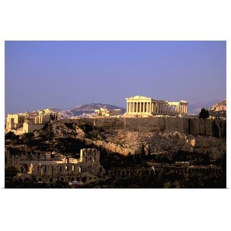 Great BIG Canvas | Rolled Walter Bibikow Poster Print entitled Greece, Athens, Attica, The Acropolis, Parthenon Viewed From Filopapou Hill Acropolis View Athens Greece