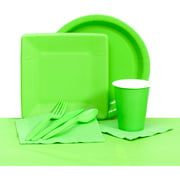 Plastic Solid Tableware Set, Lime Green