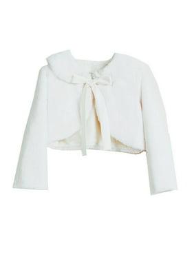 Sweet Kids Little Girls White Faux Fur Ribbon Long Sleeve Bolero Jacket
