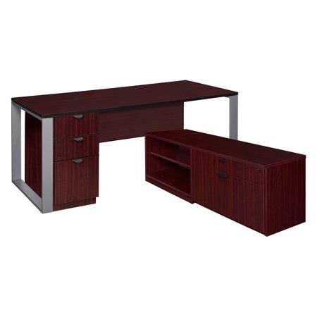 Full Pedestal Credenza (Regency Structure L-Desk with Laminate Low Credenza with Full Pedestal Cabinet )