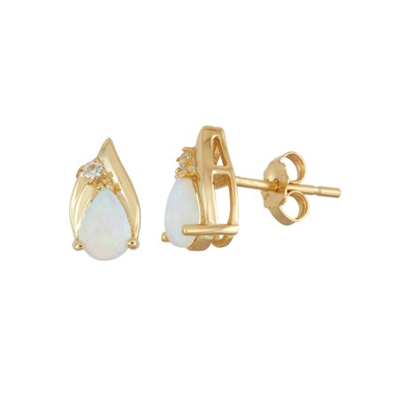 Created Opal and Created White Sapphire 18KT Gold over Sterling Silver Pear-Shaped Stud - Tourmaline White Gold Stud
