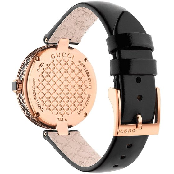 45fbdf54267 Dress watch style. Watch label  Swiss Made. Gucci Diamatissima Black  Lacquered Dial Ladies Watch YA141401. Hour