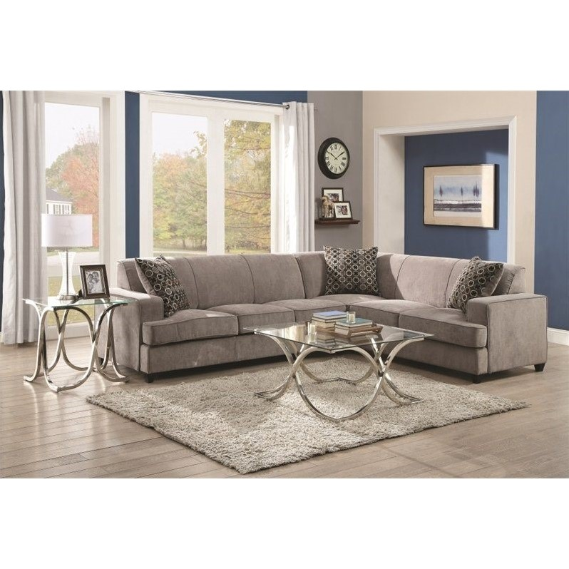 Coaster Fabric Sleeper Sectional in Gray