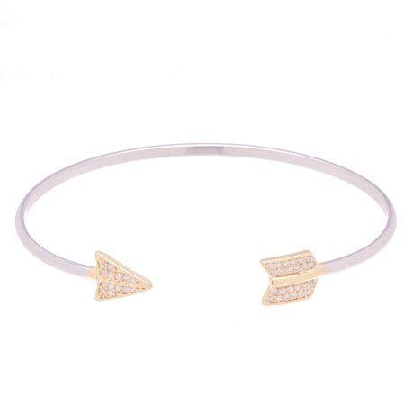 Lesa Michele Genuine Cubic Zirconia Two-Tone Pave Arrow Head and Tail Ends Open Cuff Bangle in Gold over Sterling Silver