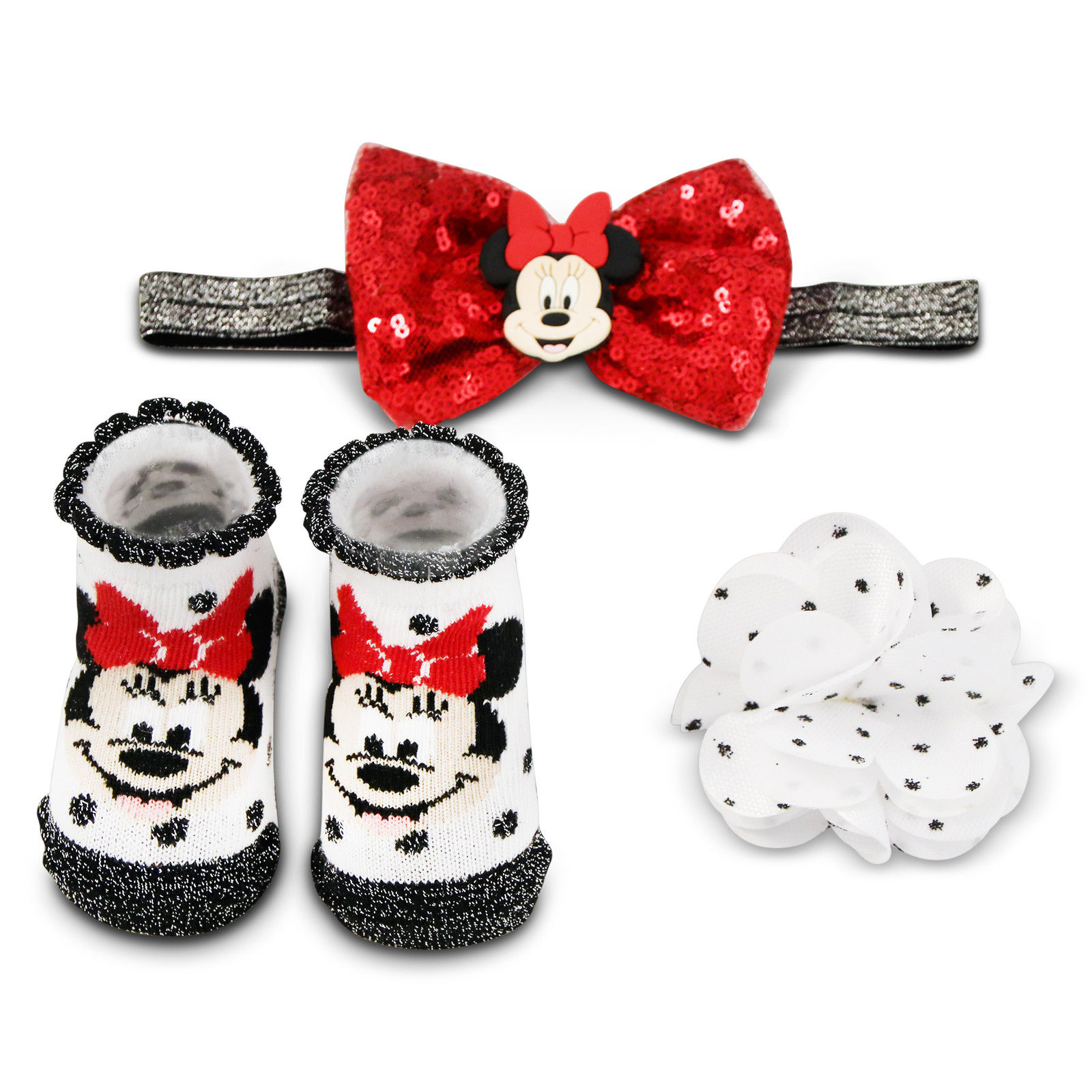 Disney Minnie Mouse Headband, Hair Clip and Booties Gift Set, Baby Girls, 0-12M