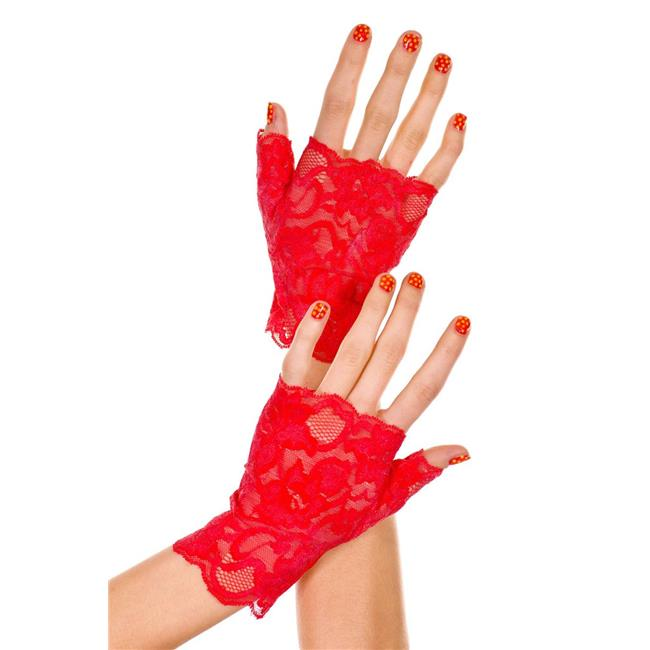Music Legs 416-RED Lace Fingerless Gloves - Red