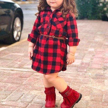 Princess Christmas Dresses (USA Newborn Toddler Baby Girls Christmas Plaid Princess Party Dress Belt)